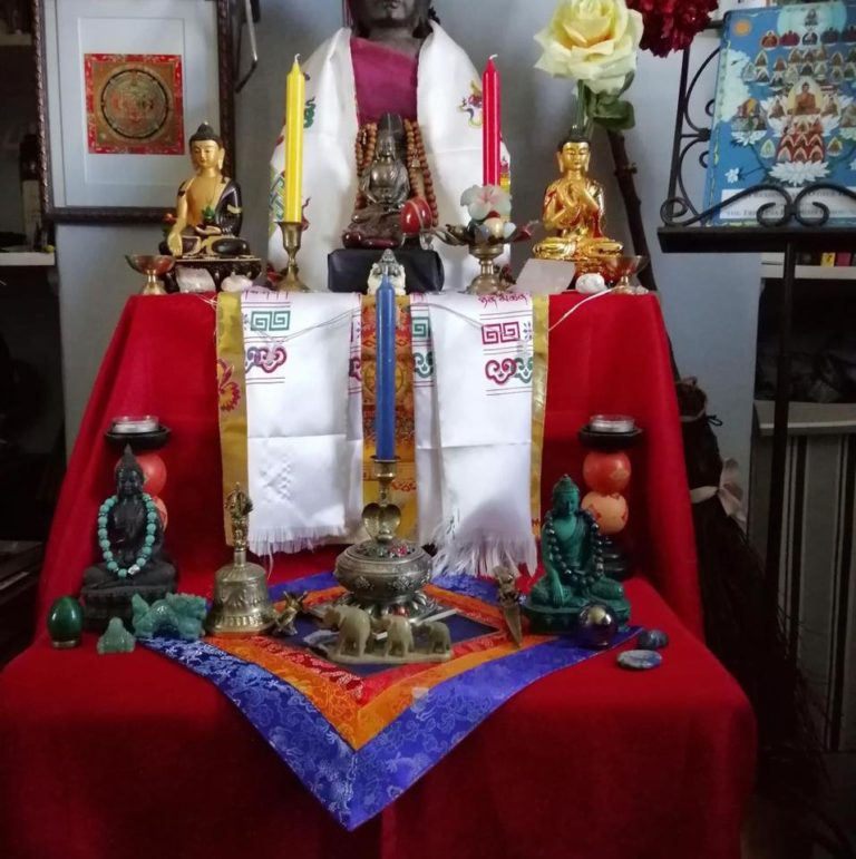 'My latest tri ratna shrine with all five dhyani Buddhas' Andre'
